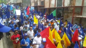 Los manifestantes exigen la salida del PLD del poder.