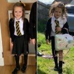 El antes y el después de Lucie en su primer día de escuela. Ella declaró que hizo mucho durante el día.