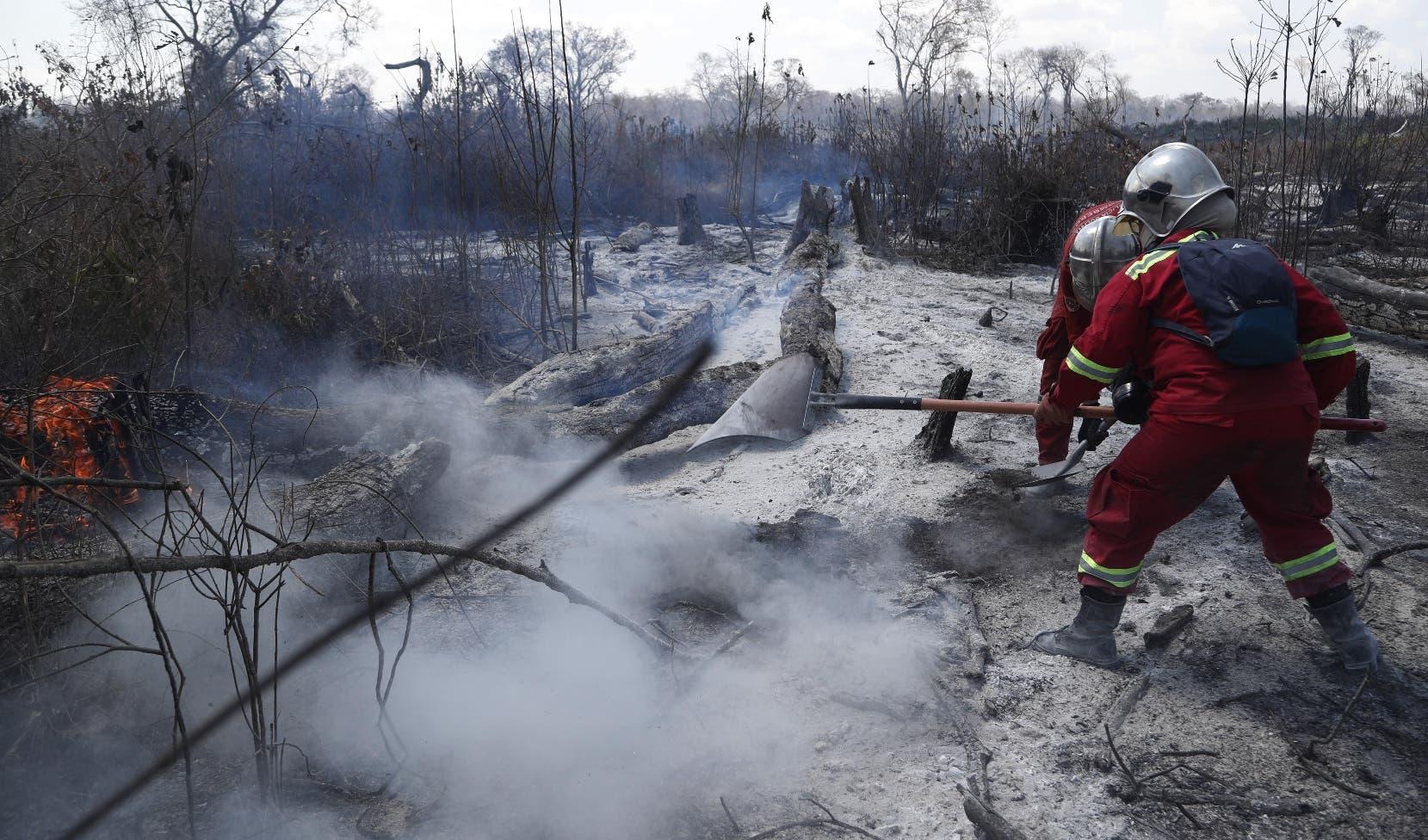 Combate a las llamas prosigue sin tregua en la Amazonía