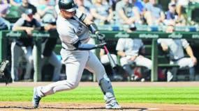 Gary Sánchez disparó ayer el jonrón 30 de la temporada en la victoria de los Yankees.  Ap