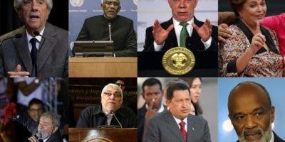 Combo de fotografías de archivo de los mandatarios latinoamericanos: Fila superior (i-d) El presidente de Uruguay, Tabaré Vázquez (2019); el presidente de Guayana, David Granger (2015); el expresidente de Colombia Juan Manuel Santos (2018); la expresidenta brasileña Dilma Rousseff (2018); Fila inferior (i-d) el expresidente brasileño Luiz Inácio Lula da Silva (2016); el expresidente paraguayo Fernando Lugo (2018); el expresidente de Venezuela Hugo Chávez (2006) y el expresidente de Haití René Préval (2010). EFE/ ARCHIVO