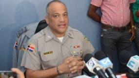 El vocero policial, coronel  Frank Félix  Durán Mejía, anunció la detención de los imputados.  AGENCIA FOTO