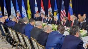 El canciller Miguel Vargas en reunión con el presidente estadounidense Donald Trump  en la ONU. FUENTE EXTERNA