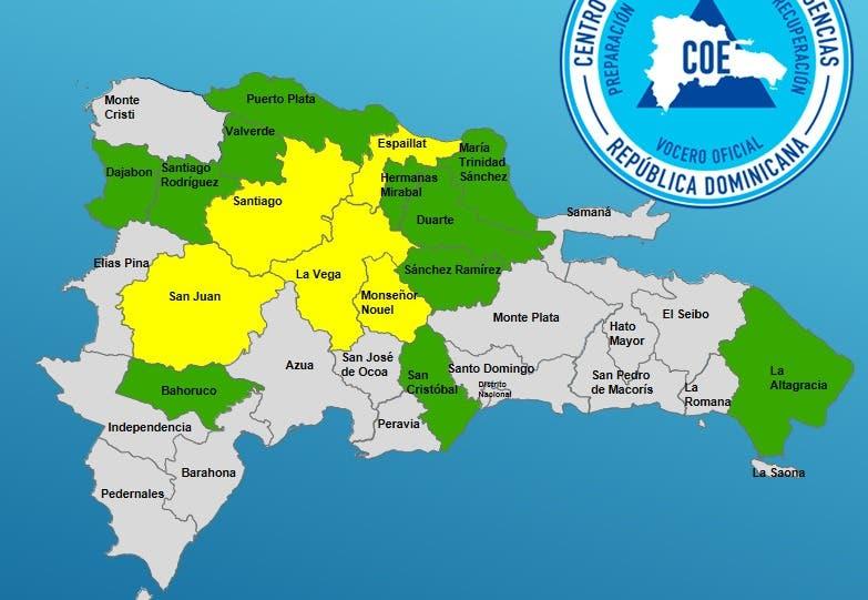 COE mantiene en alerta a 15 provincias; la descontinúa en otras 4