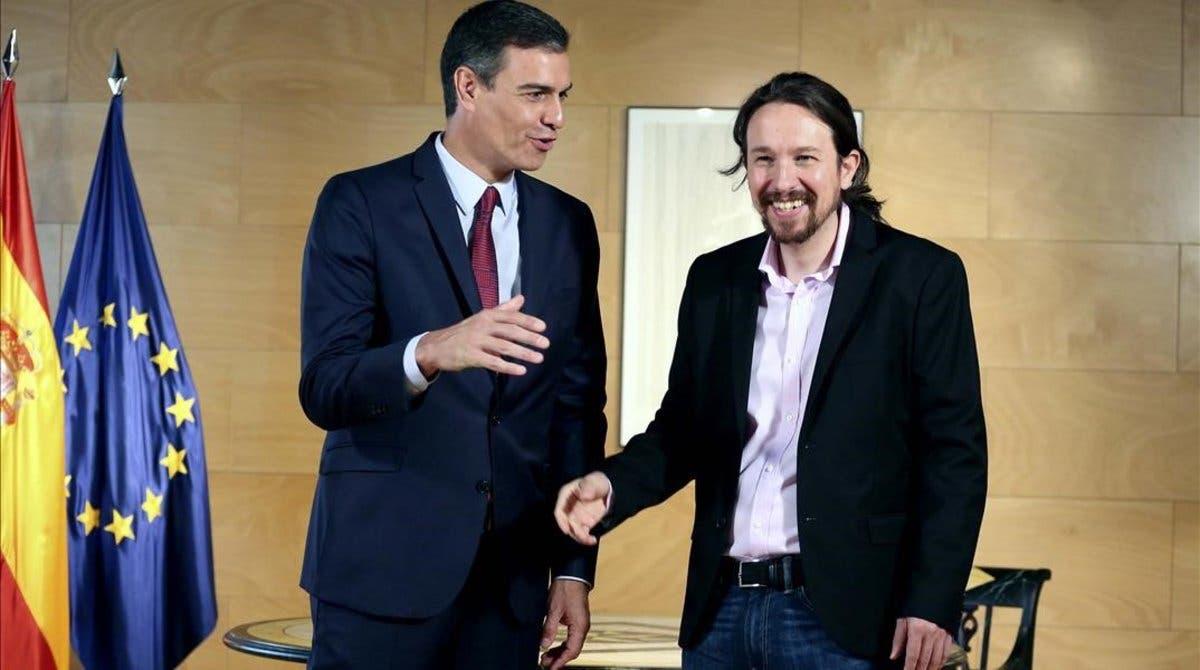 Pedro Sánchez y Pablo Iglesias, líderes del PSOE y Podemos, respectivamente.