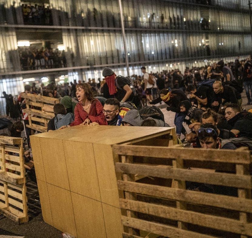 Los manifestantes cerraron el aeropuerto de Barcelona.