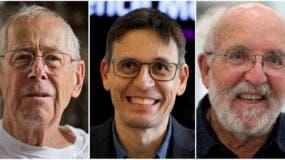 Los ganadores del Premio Nobel de Física,  James Peebles, Didier Queloz y Michel Mayor.   (AP Photo)