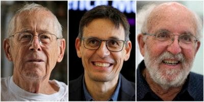Los ganadores del Premio Nobel de Física,  James Peebles, Didier Queloz y Michel Mayor.   (AP Photo)