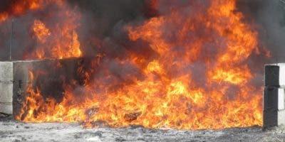 La quema de la droga se efectuó en las instalaciones de la Primera Brigada de Infantería del Ejército.