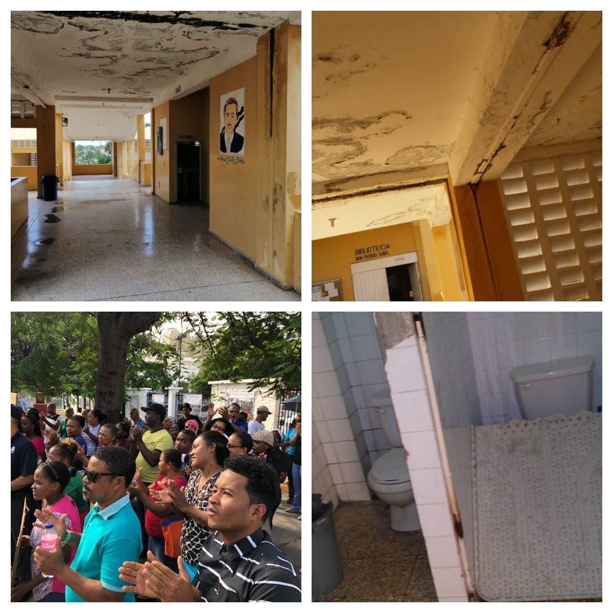 Protestan frente a Educación en demanda Liceo Manuel Félix Peña sea remozado