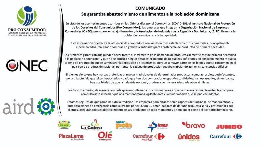 Empresas comerciales e industriales garantizan abastecimiento de alimentos a la población dominicana