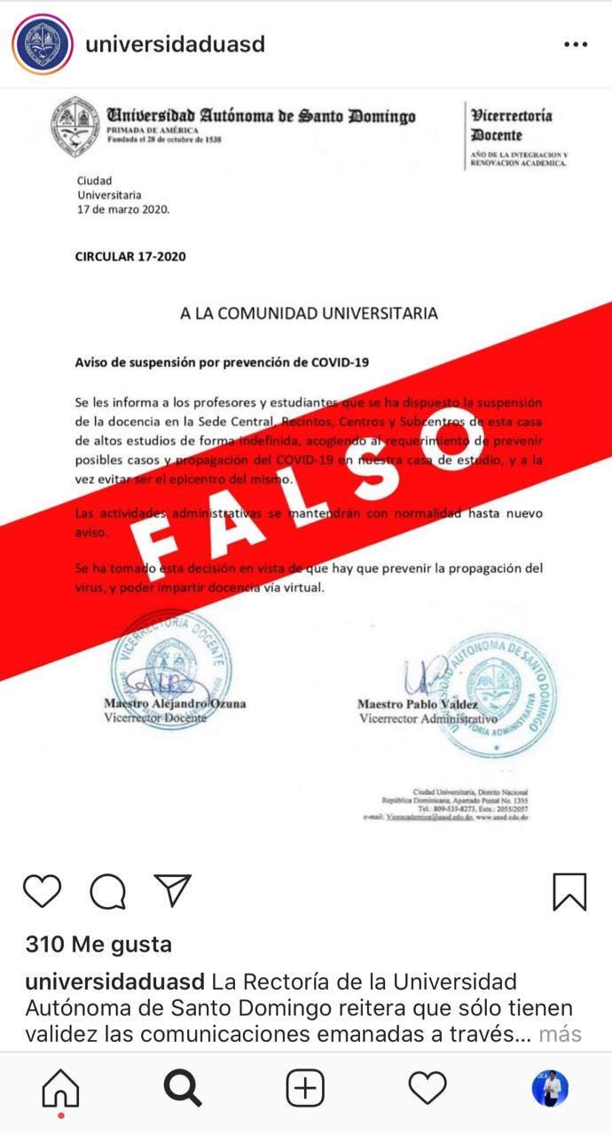 UASD aclara es falso comunicado circula en las redes