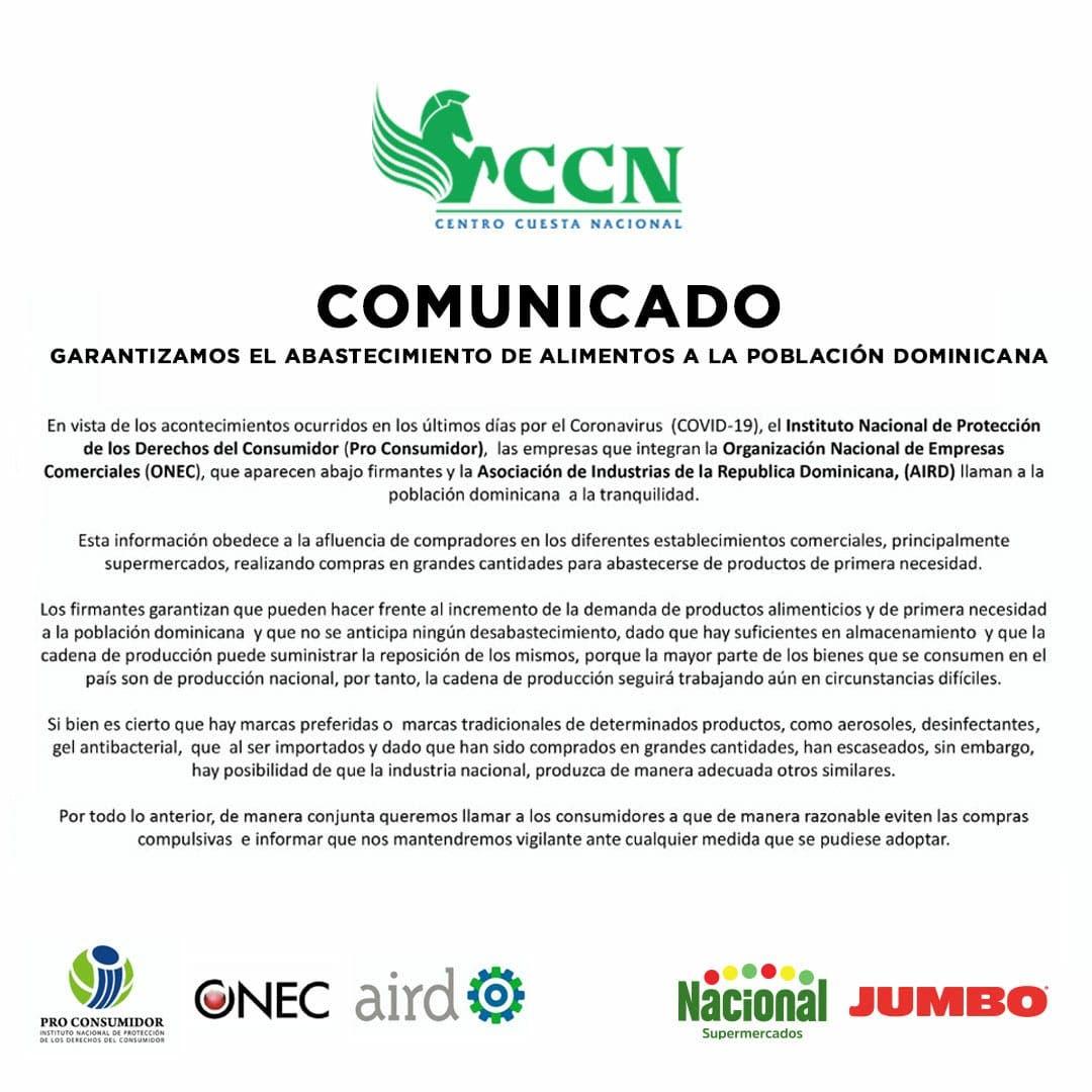 CCN garantiza abastecimiento de alimentos a la población dominicana
