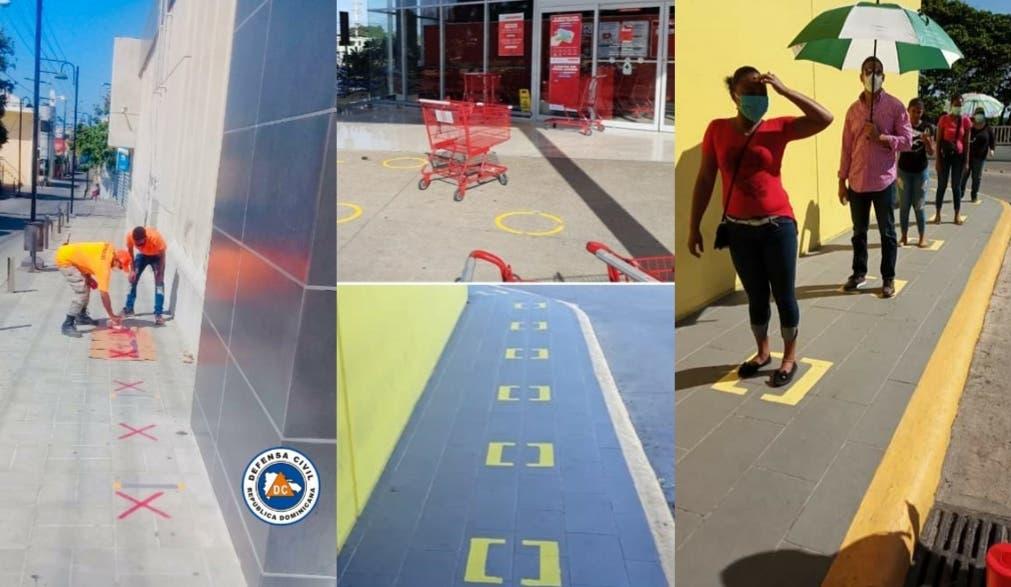 Señalizan espacios para mantener distancia entre ciudadanos en instituciones bancarias y supermercados de Puerto Plata