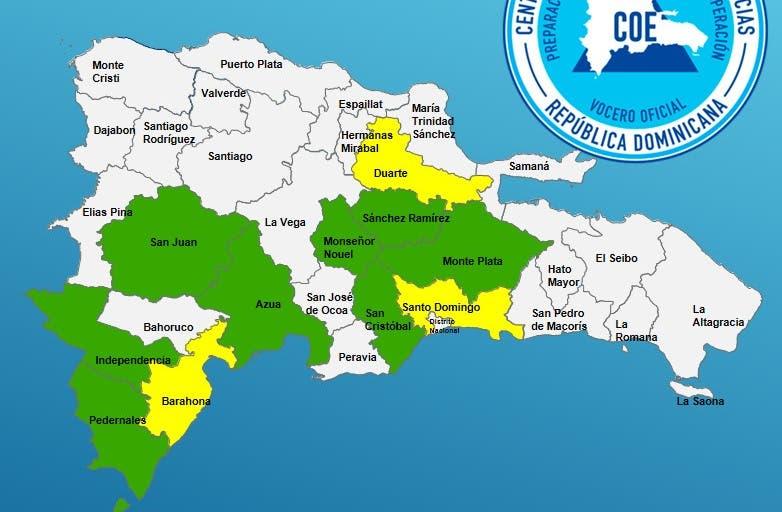 COE mantiene alerta amarilla para tres provincias y verde para otras 8