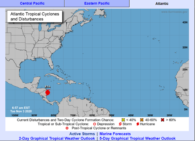 Eta toca tierra en el Caribe norte de Nicaragua como huracán de categoría 4
