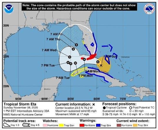 Eta deja atrás Cuba y enfila la costa de EEUU, a donde llegará como huracán