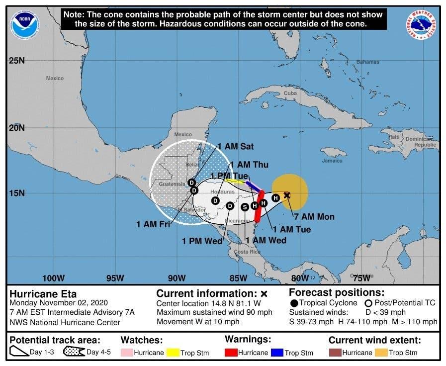 El huracán Eta sube a categoría 4 cerca de la costa noreste de Nicaragua