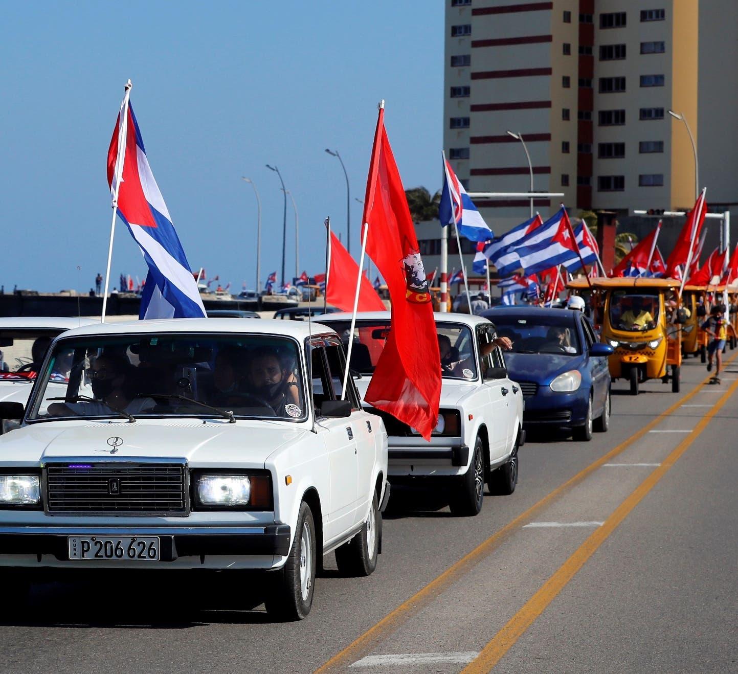 Manifestación en Cuba contra  sanciones  EU