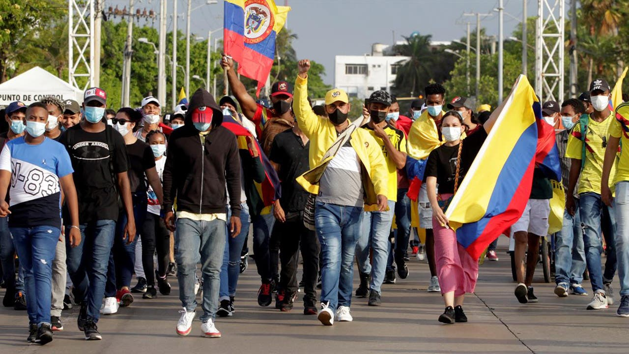 Marcha en la ciudad española de Barcelona contra la represión en Colombia