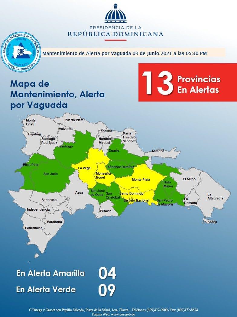 COE eleva a 13 provincias en alerta por vaguada