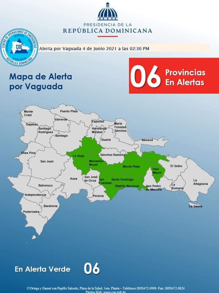 COE declara alerta verde para seis provincias por vaguada