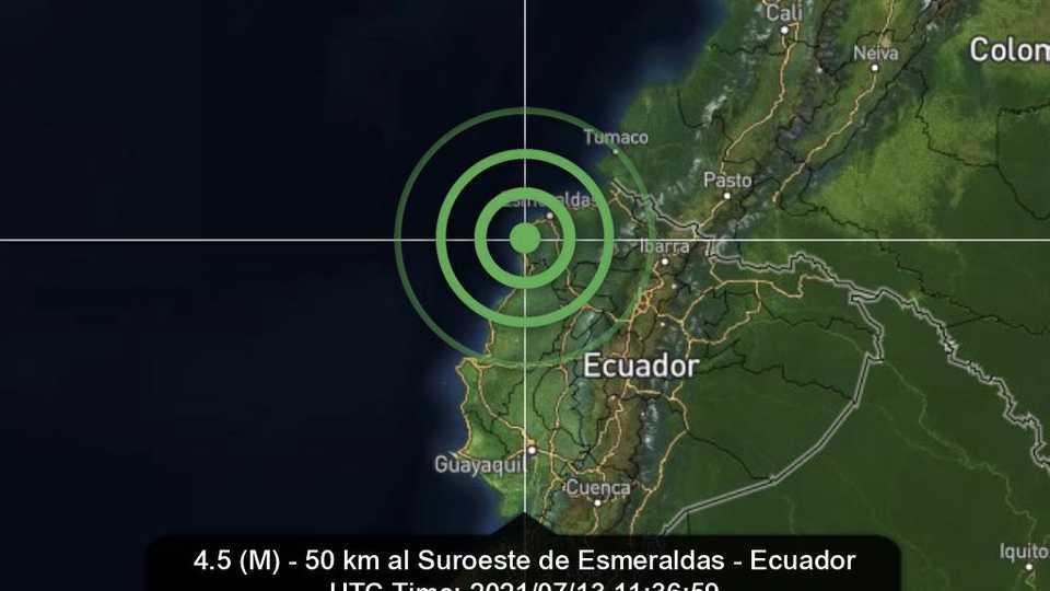 Sismo de magnitud 4,21 frente a las costas de Ecuador