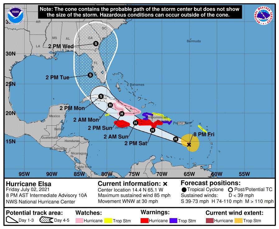 El huracán Elsa se acerca con la potencia de categoría I