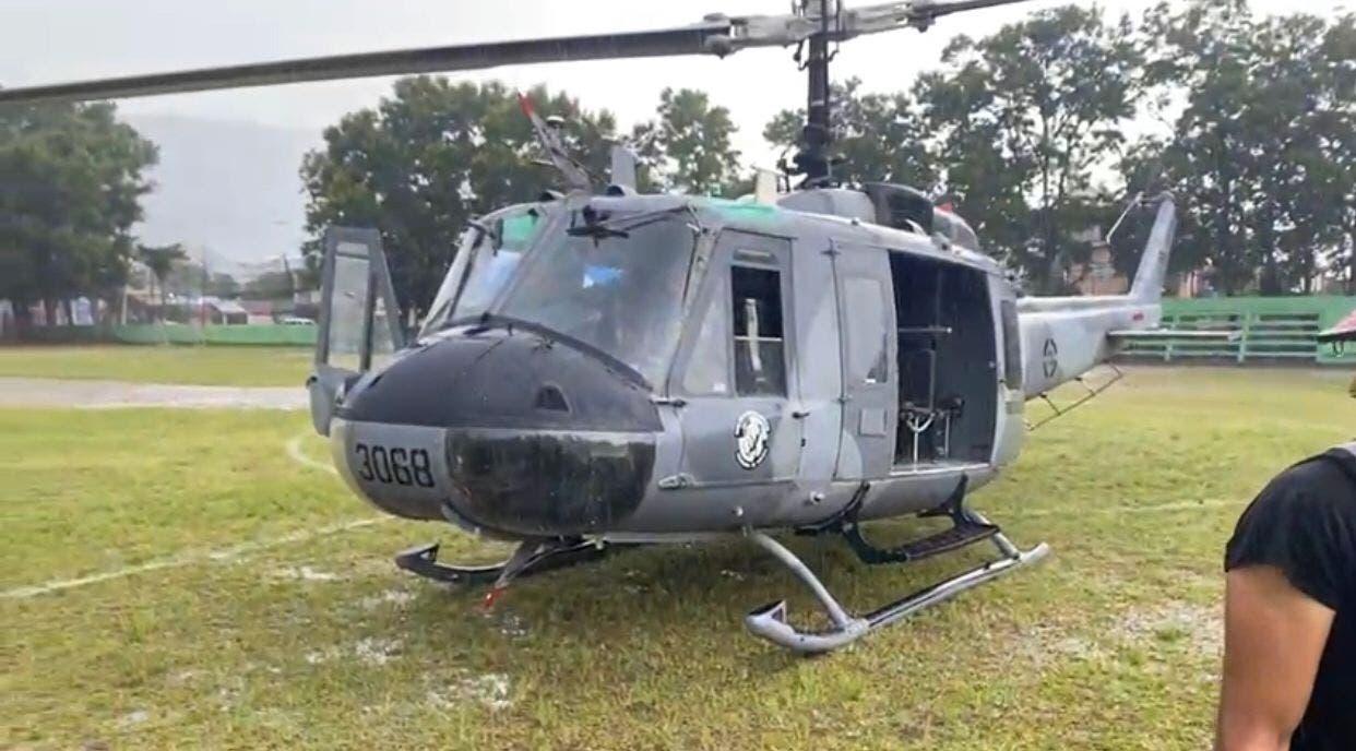 Helicóptero presidencial aterriza de emergencia en Jarabacoa por condiciones del tiempo