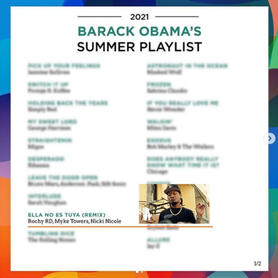 """""""Ella No es Tuya"""", de Rochy RD entre canciones favoritas de Obama este verano"""