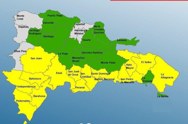 COE disminuye a 26 las provincias en alerta