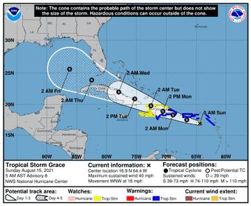 Grace se mueve cerca de Puerto Rico y pone en alerta a Haití y RD