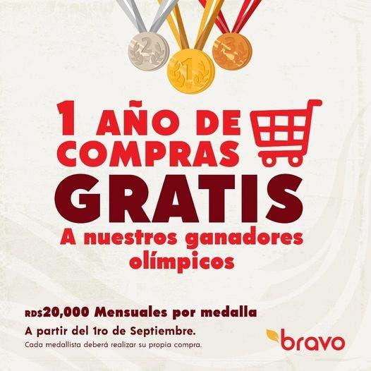 Supermercados Bravo dará compra de 20 mil pesos mensuales por un año a medallistas olímpicos