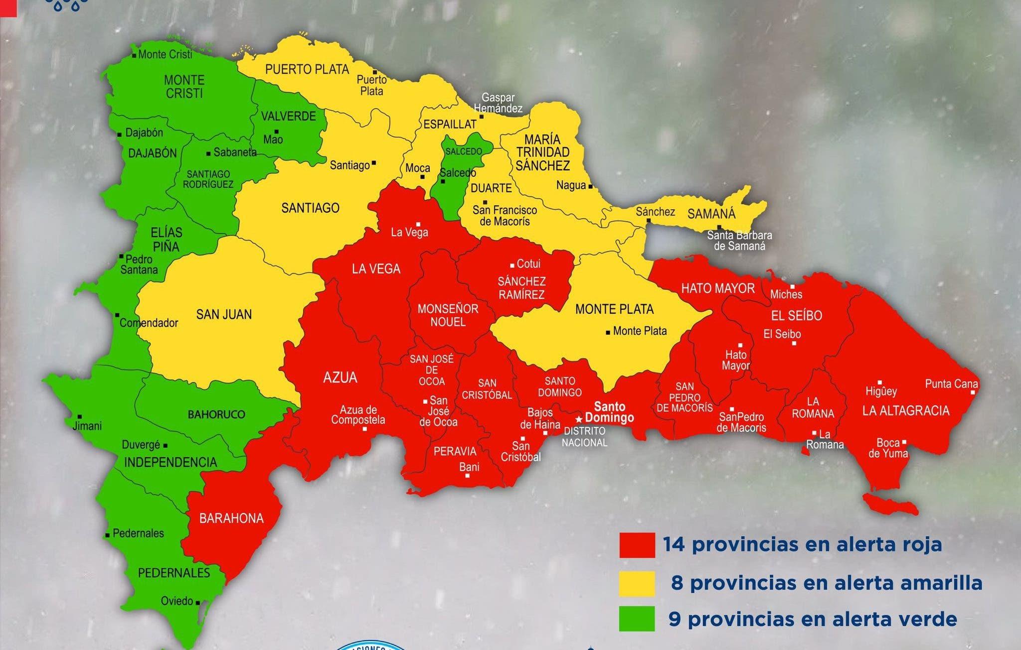 COE eleva a 14 las provincias en alerta roja por tormenta Fred