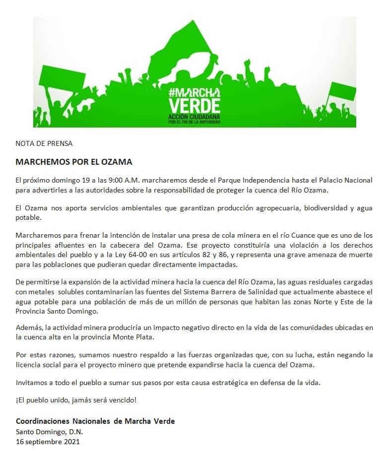 Marcha Verde realizará caminata el domingo para pedir se proteja río Ozama