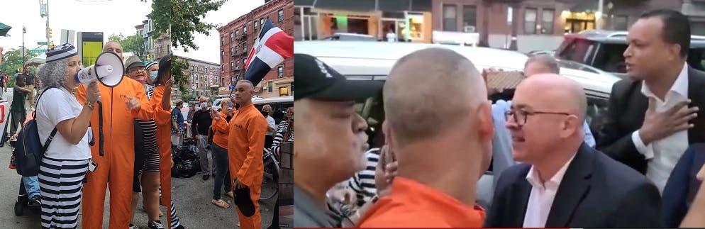 Piquetean a Domínguez Brito en NY; cuando llegó al acto habló con manifestantes