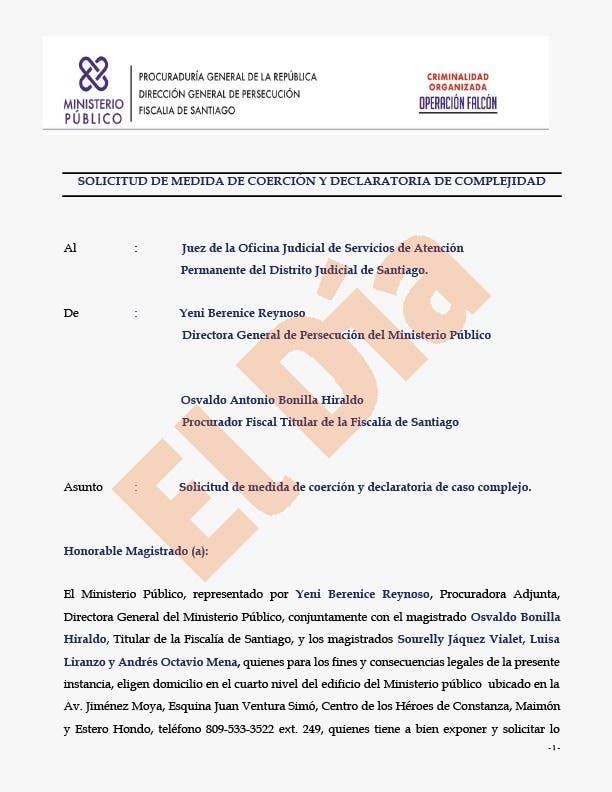 Operación Falcón: Solicitud medida de coerción (texto completo)